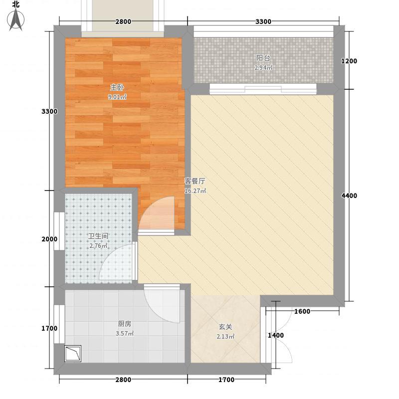 巴陵首府4.56㎡一期1#楼29层E户型1室1厅1卫1厨