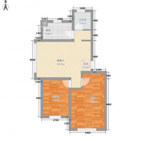 中央上城2室1厅1卫1厨65.00㎡户型图