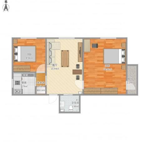 呼家楼北街2室1厅1卫1厨72.00㎡户型图