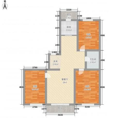 富吉家园3室1厅1卫1厨105.00㎡户型图