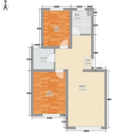 中央上城2室1厅1卫1厨57.06㎡户型图