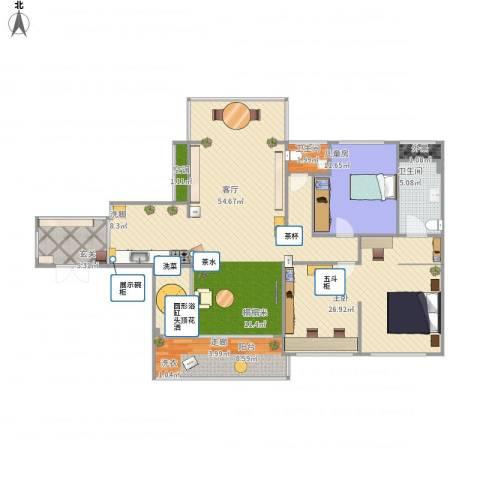 建大领秀城2室1厅2卫1厨157.00㎡户型图