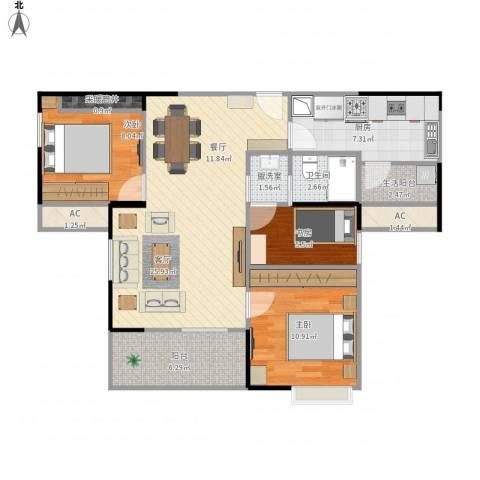 盛世家园3室2厅3卫1厨103.00㎡户型图