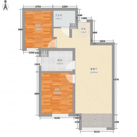 潮白河孔雀英国宫2室1厅1卫1厨67.01㎡户型图