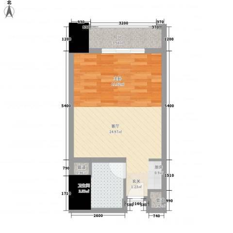 中环国际广场1厅1卫0厨46.00㎡户型图