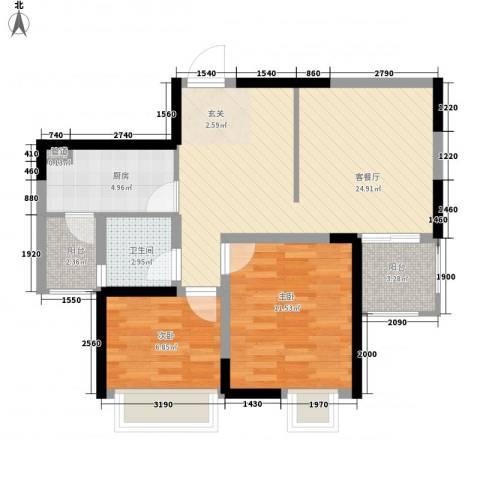 西街苑2室1厅1卫1厨83.00㎡户型图