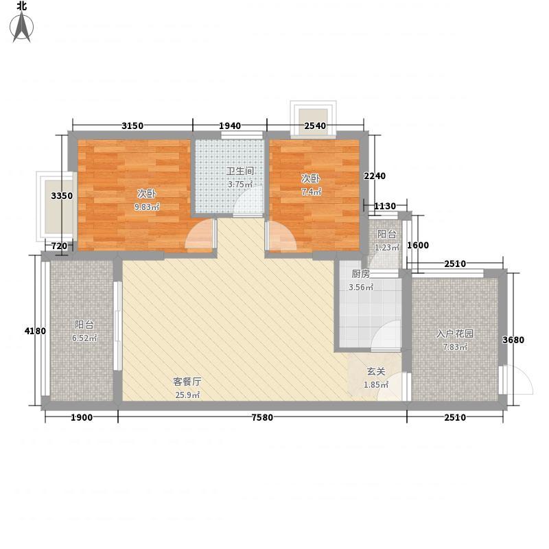 翠堤尚园85.00㎡户型2室