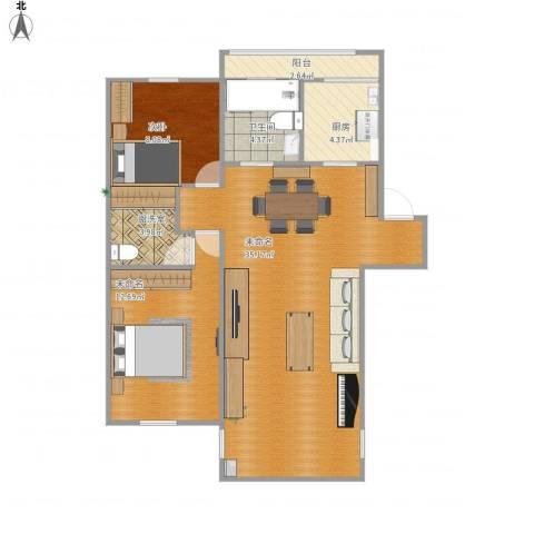 建德花园百合苑1室1厅1卫1厨96.00㎡户型图