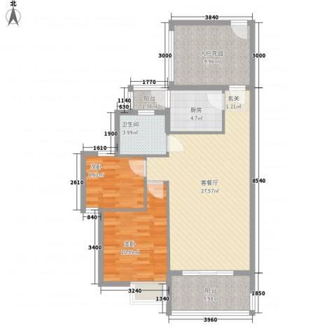 翠堤尚园2室1厅1卫1厨86.00㎡户型图