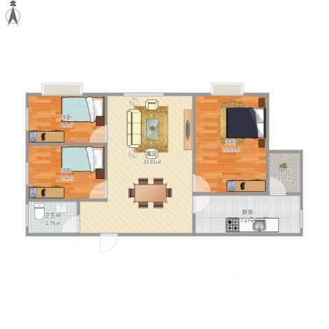 城市绿洲花园3室1厅1卫1厨84.00㎡户型图