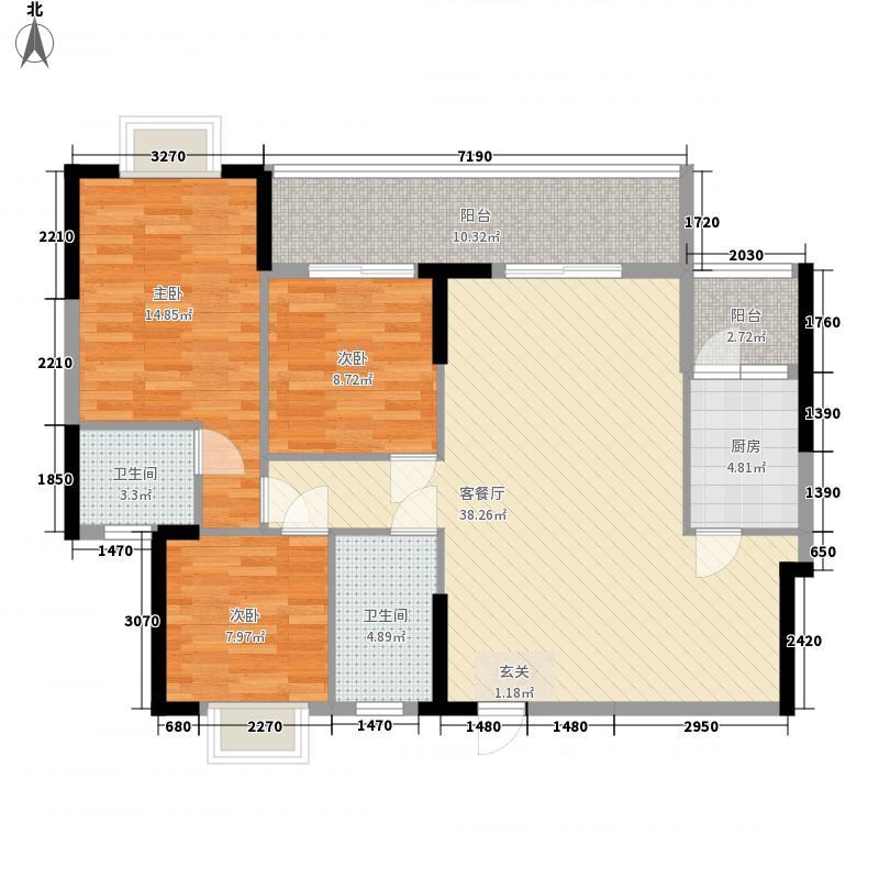 裕景华庭116.40㎡3#楼1单元6号户型3室2厅2卫1厨