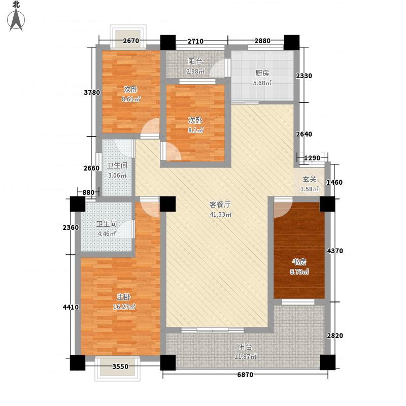 龙泽园134.18㎡K1户型4室2厅2卫1厨