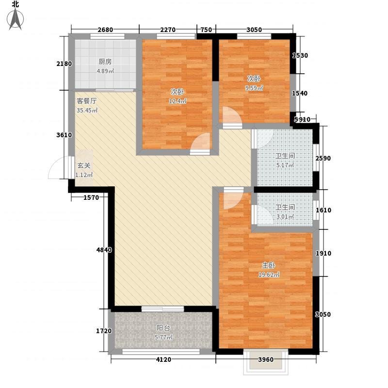 御景嘉园138.00㎡D户型3室2厅2卫1厨