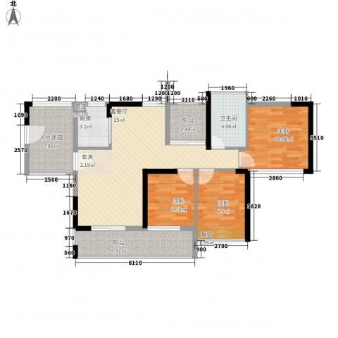文华苑3室1厅1卫1厨79.90㎡户型图