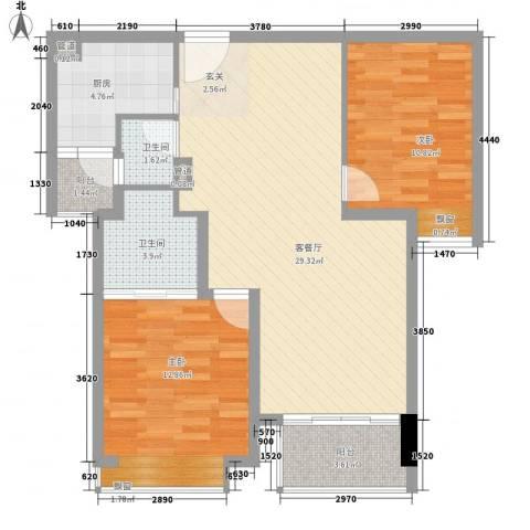 绿洲雅宾利花园2室1厅2卫1厨68.53㎡户型图