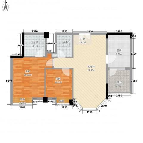 嘉多利山花园2室1厅2卫1厨105.00㎡户型图
