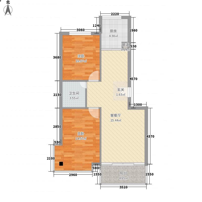 天庆嘉园B区星河缘8.00㎡A-2户型2室2厅1卫1厨
