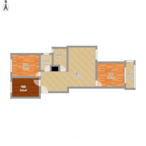 紫东国际3室1厅1卫1厨104.00㎡户型图