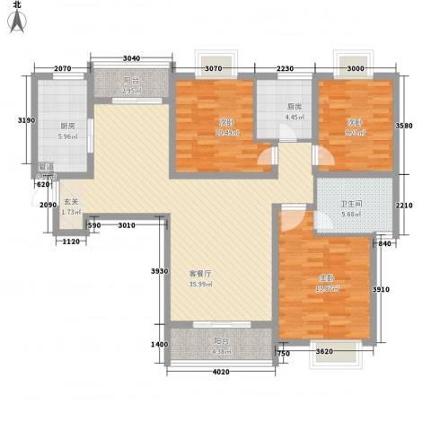 东岭欣城3室1厅1卫2厨115.00㎡户型图