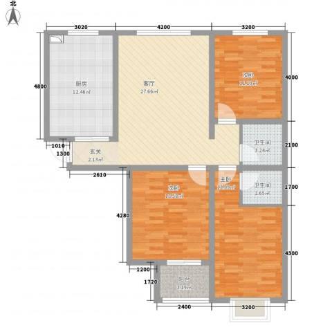 东盛嘉园3室1厅2卫1厨126.00㎡户型图