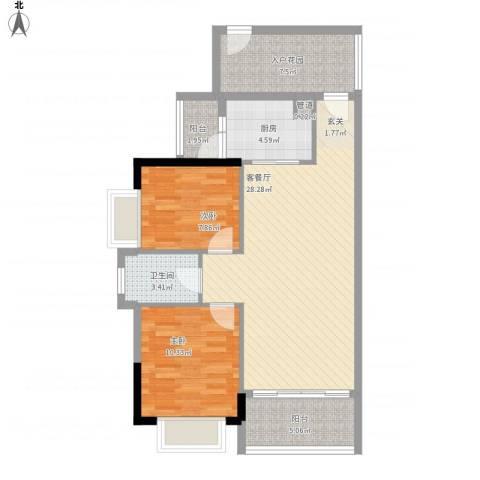 七星奥林园2室1厅1卫1厨99.00㎡户型图