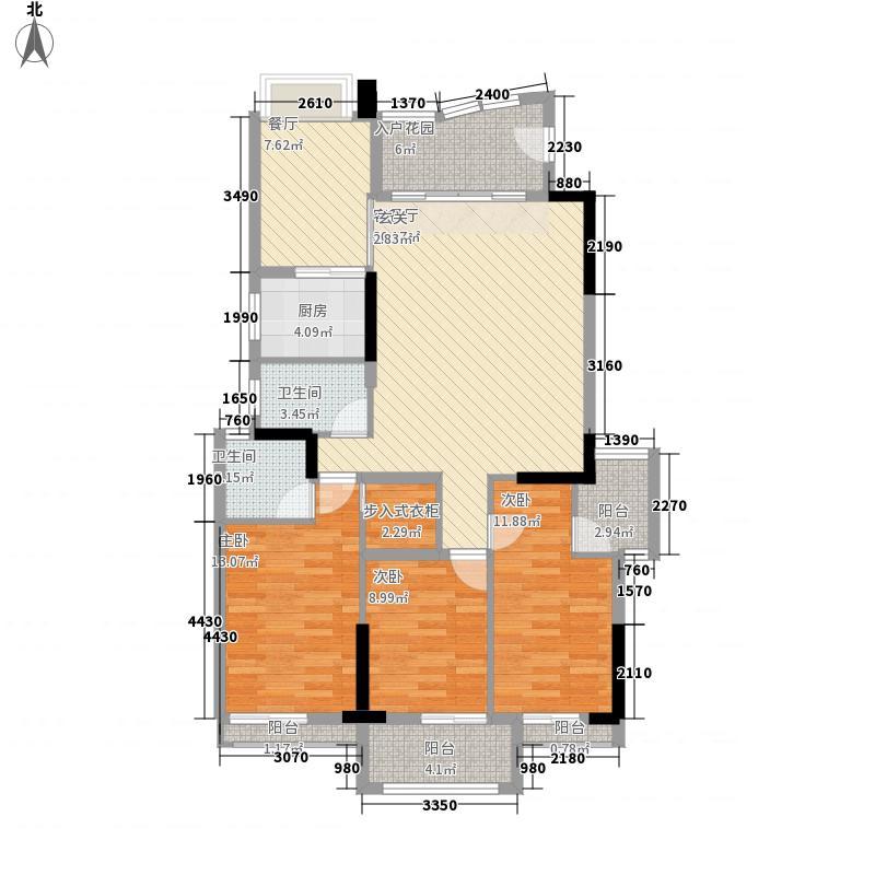 富春华庭142.30㎡B幢标准层2梯01户型3室2厅3卫1厨