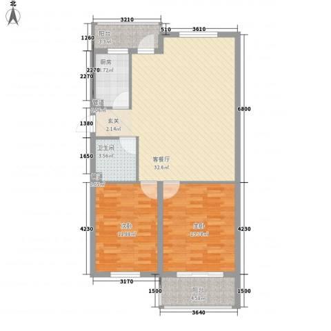 津港国际2室1厅1卫1厨73.53㎡户型图