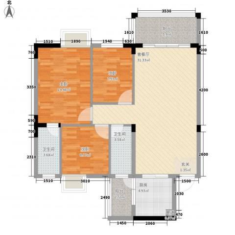 金山祥和花园3室1厅2卫1厨82.80㎡户型图