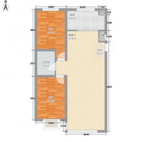 东湖凤还朝2室1厅1卫1厨72.83㎡户型图