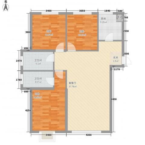东湖凤还朝3室1厅2卫1厨124.00㎡户型图