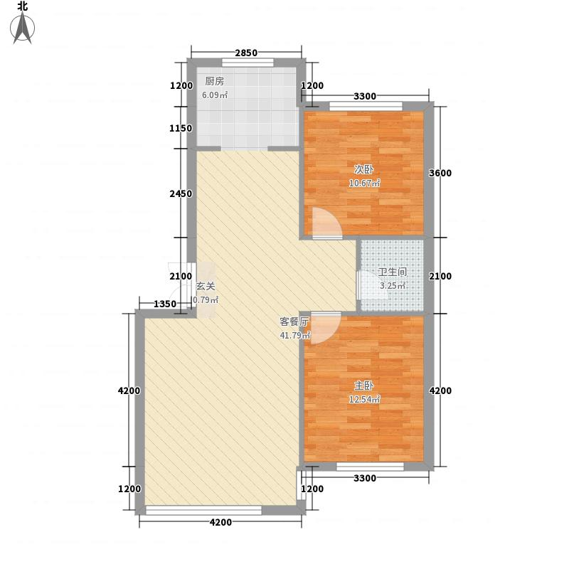 雅田园8.27㎡7号(2)户型2室2厅1卫