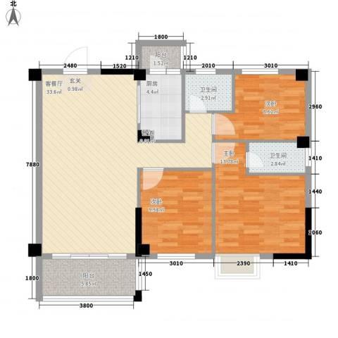 金山祥和花园3室1厅2卫1厨83.52㎡户型图