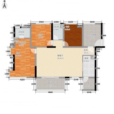 南江绿苑3室1厅2卫1厨168.00㎡户型图