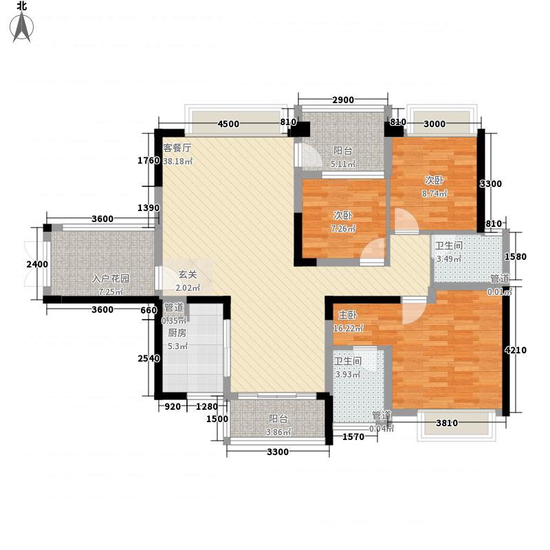 恒隆・御景山庄126.00㎡5/6栋02/03/户型3室2厅2卫1厨