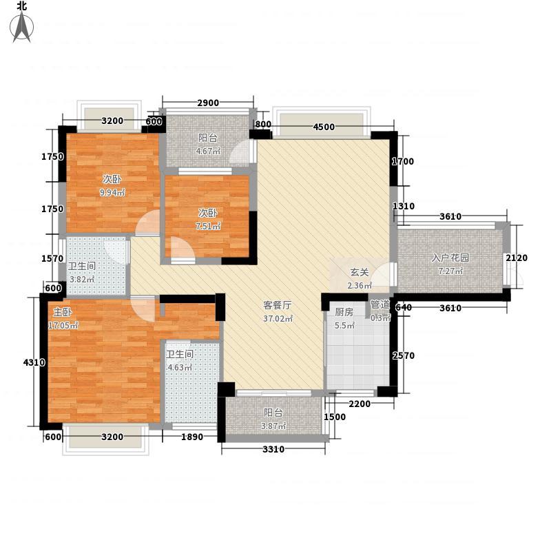 恒隆・御景山庄127.00㎡3/4栋03户型3室2厅2卫1厨