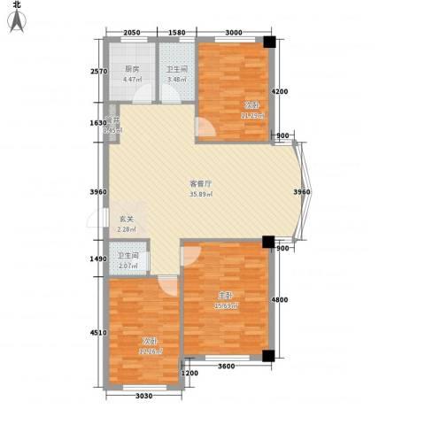 华源人家3室1厅2卫1厨121.00㎡户型图