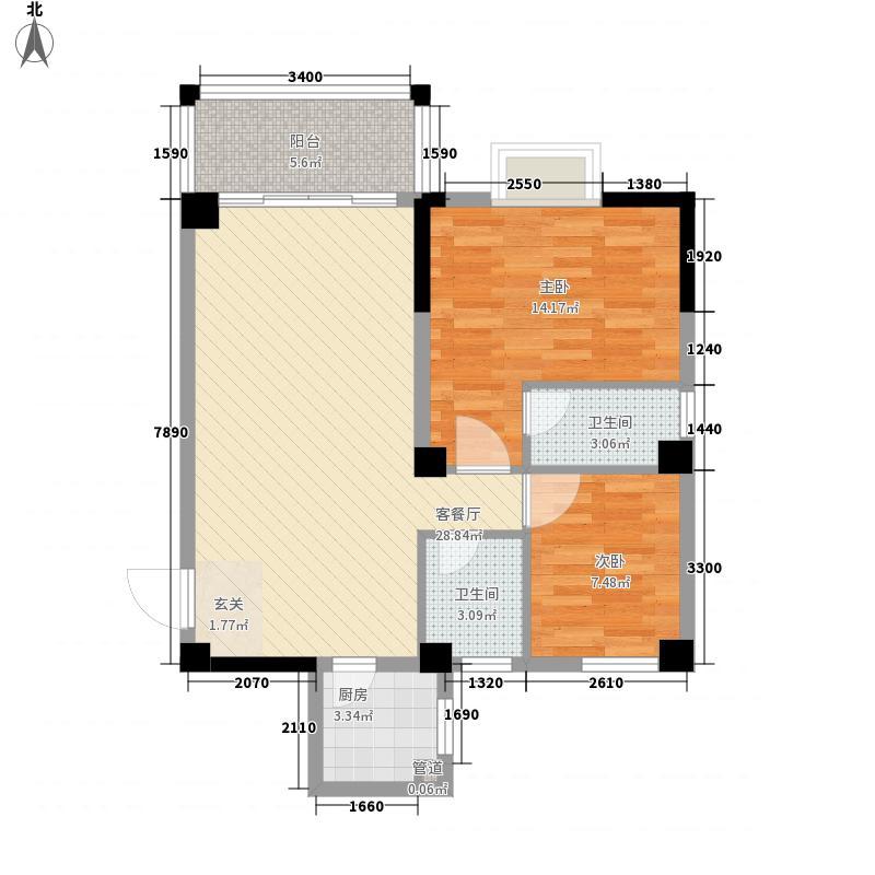 金山祥和花园84.13㎡A2户型2室2厅2卫1厨