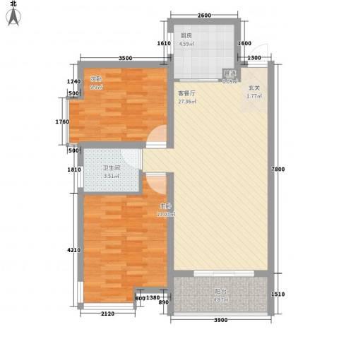东岭欣城2室1厅1卫1厨63.34㎡户型图