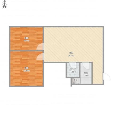 林和苑2室1厅1卫1厨73.00㎡户型图