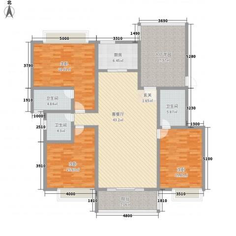 兴业花园3室1厅3卫1厨162.00㎡户型图