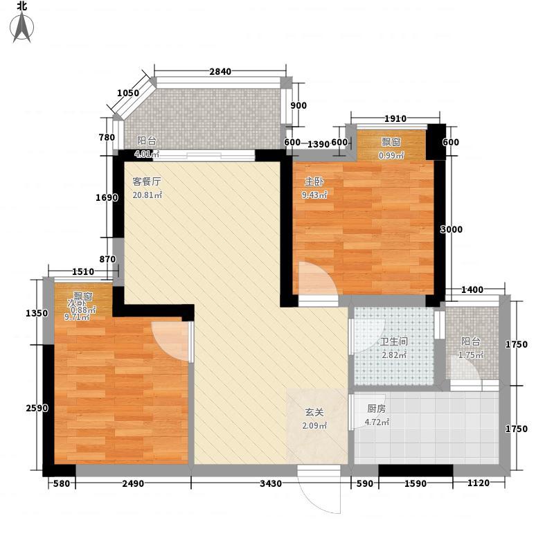 山海天爵仕31267.82㎡B3-1型户型2室2厅1卫
