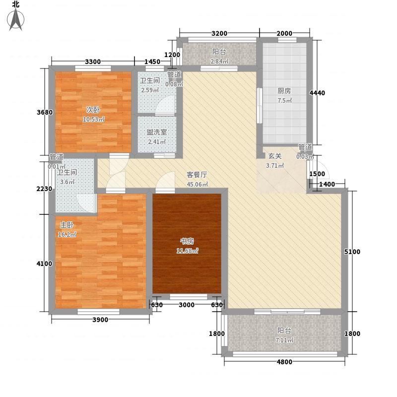 中顺新天地12.10㎡F户型3室2厅2卫1厨