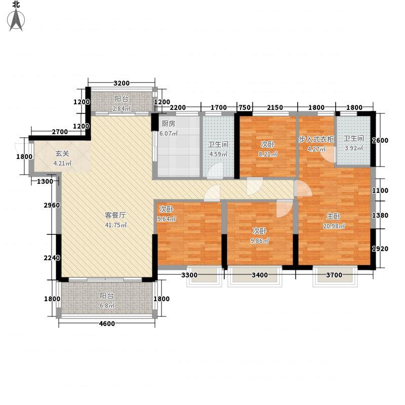 百合山花园146.27㎡H幢03户14627m2户型4室2厅2卫1厨
