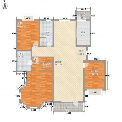 兴泰东河湾3室1厅2卫1厨212.00㎡户型图