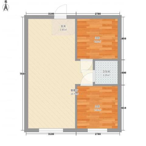 心悦购物广场2室1厅1卫0厨56.00㎡户型图
