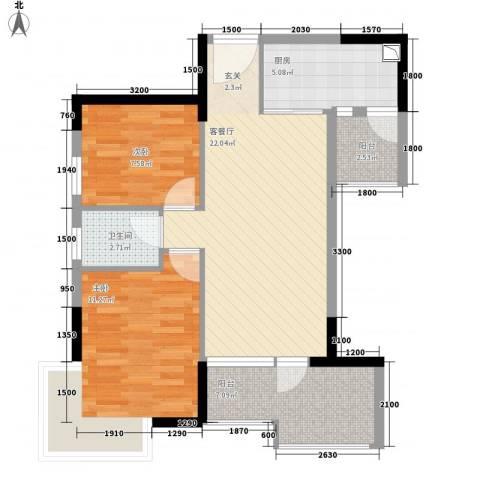国明・皇御苑2室1厅1卫1厨76.00㎡户型图