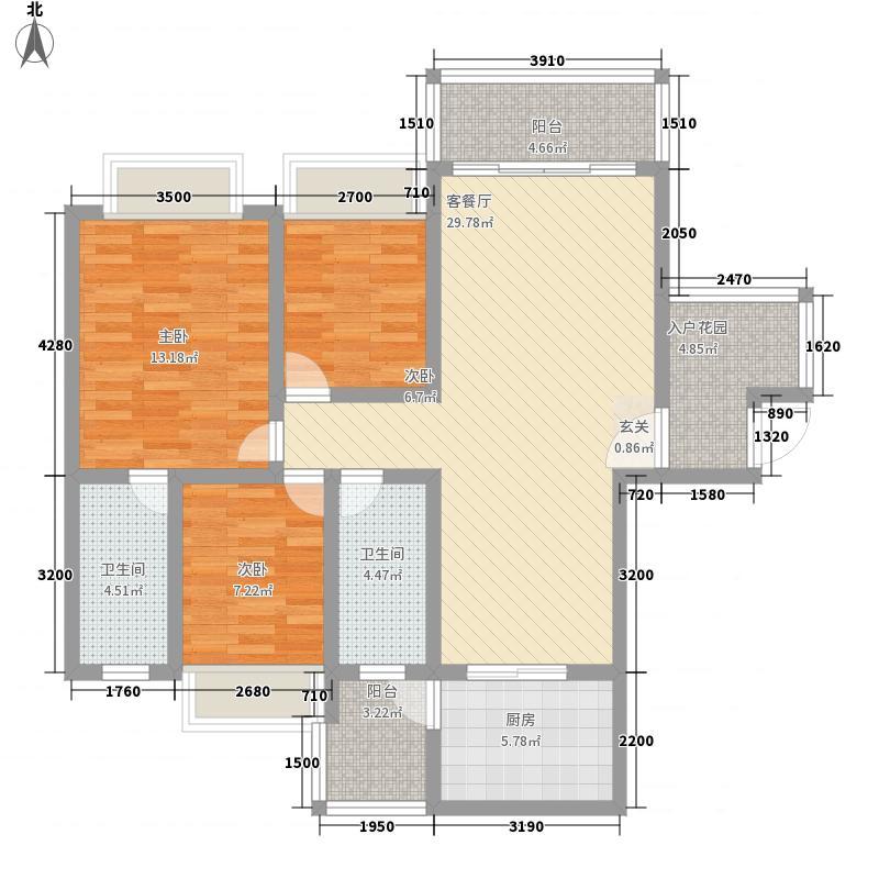 兴业花园15.21㎡二幢A座03户型3室2厅2卫1厨