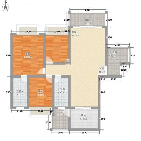 兴业花园3室1厅2卫1厨84.36㎡户型图