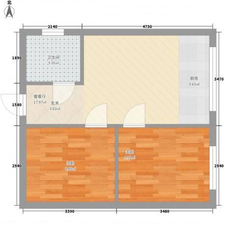 心悦购物广场2室1厅1卫0厨55.00㎡户型图