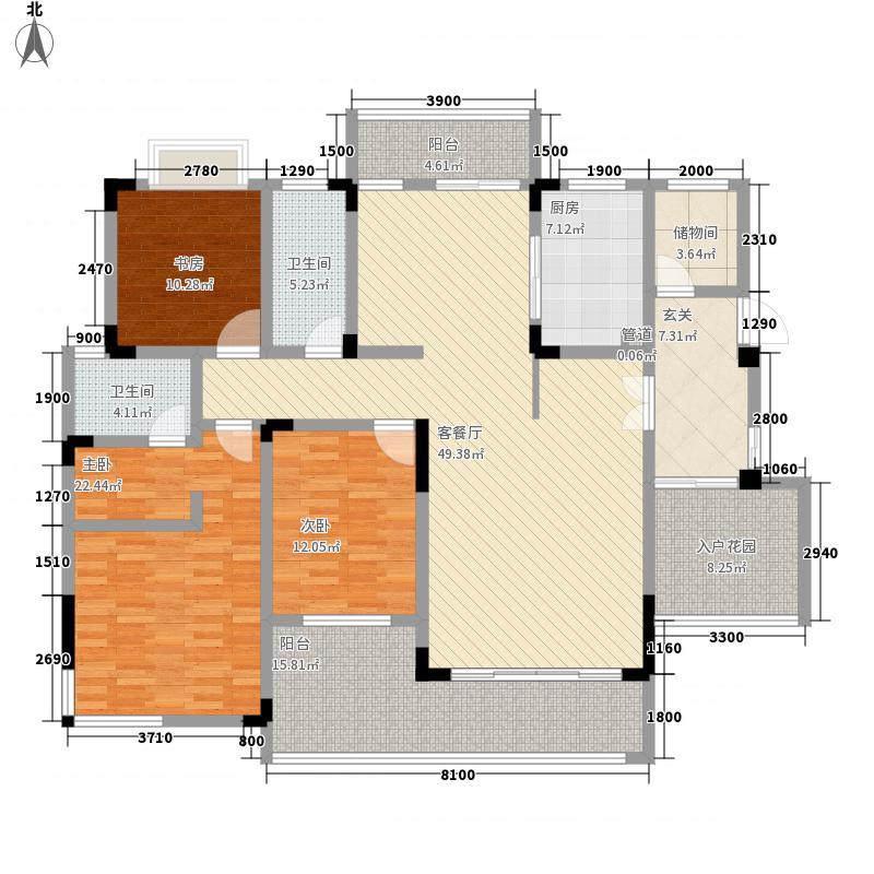 德和・沁园6-7#楼八层平面图户型